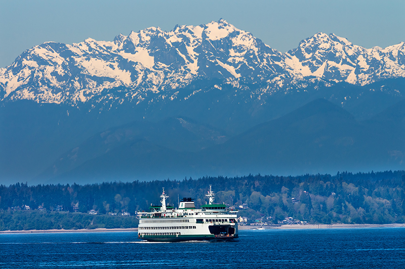 Bainbridge Island Ferry Crossing Puget Sound In Front of the Olympic Mountains