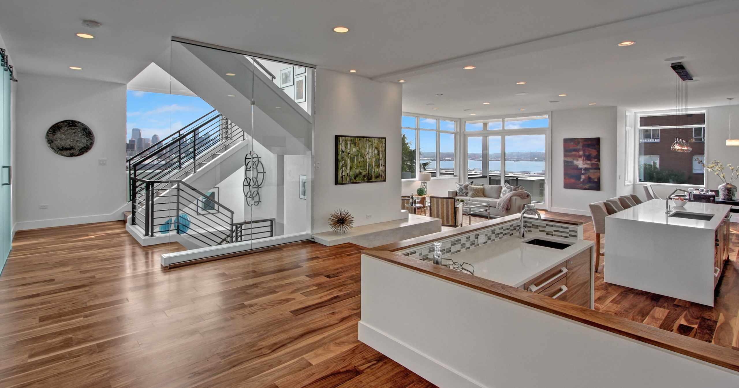 Modern Living, Glass Curtain Wall, Hardwood Floors, Open Floor Plan