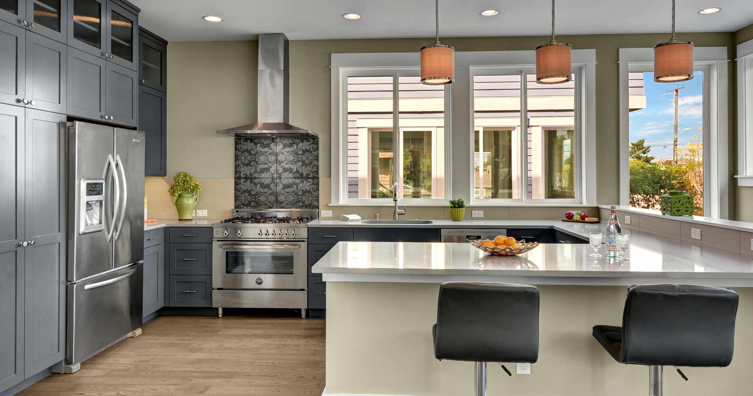 Modern Kitchen, U shape Kitchen, Stainless Steel Appliances, Modern Cabinets