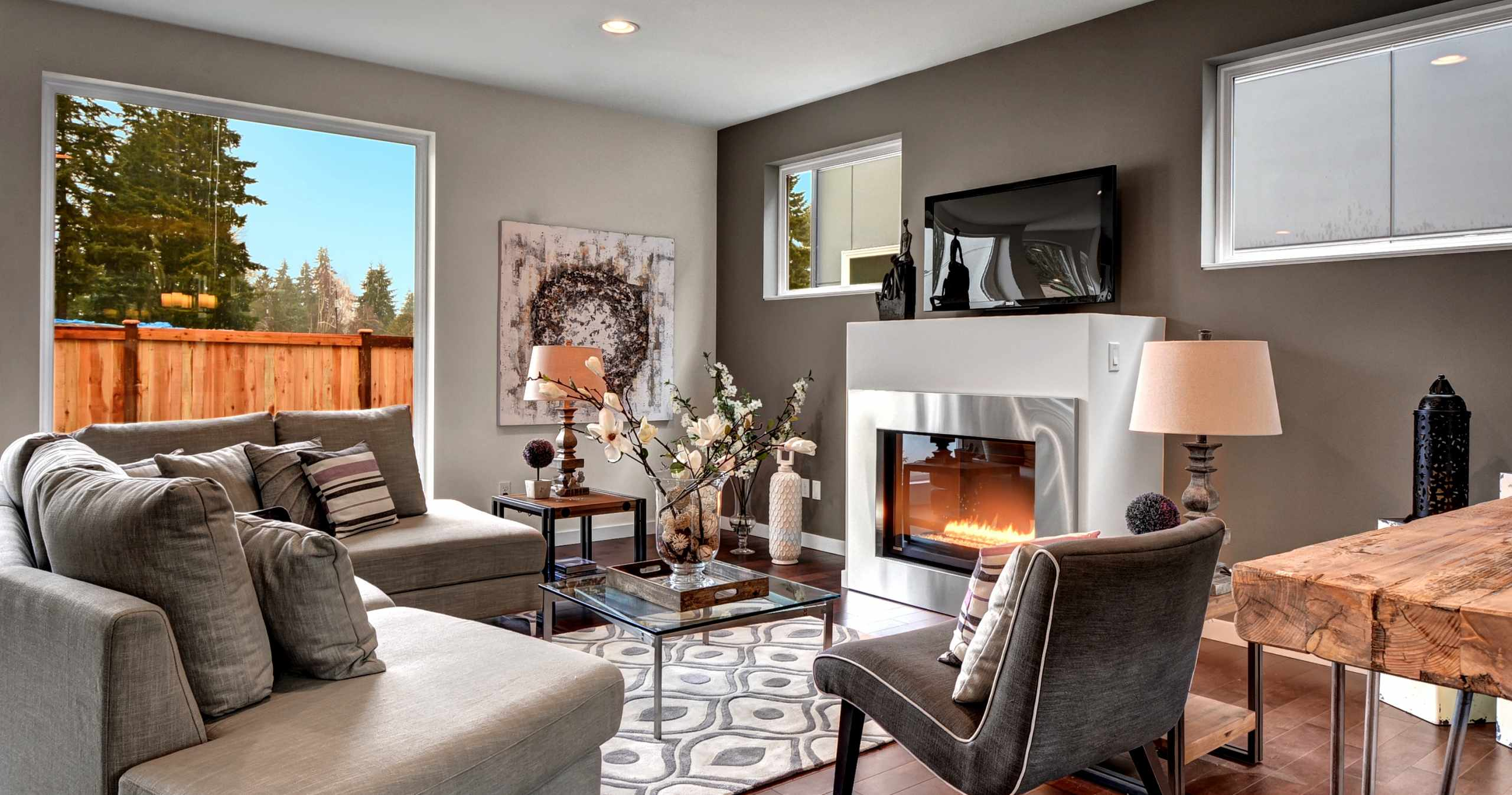 City 26, Modern Living Room, Fireplace, Stainless Steel Fireplace