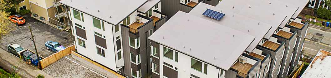 Aerial View of the Isla Townhomes from the Back