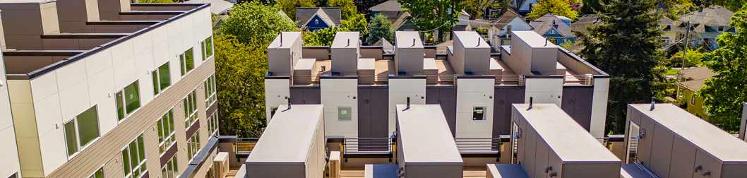 Aerial View of the Rooftop Decks at the Avani Townhomes in Capitol Hill