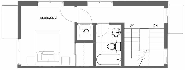 Second Floor Plan of 10413 Alderbrook Pl NW, One of the Zinnia Townhomes in the Greenwood Neighborhood of Seattle
