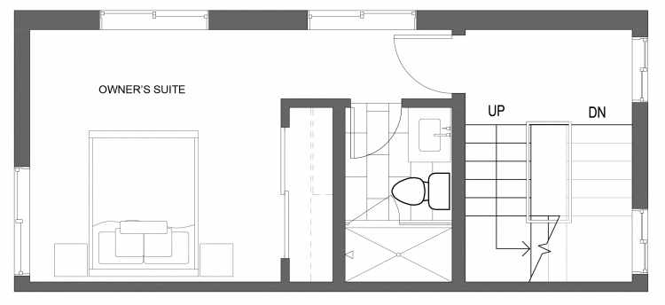 Third Floor Plan of 10413 Alderbrook Pl NW, One of the Zinnia Townhomes in the Greenwood Neighborhood of Seattle