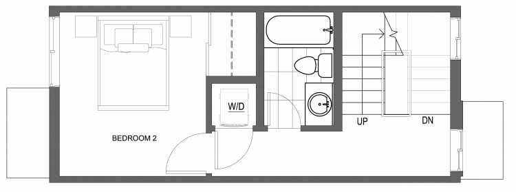 Second Floor Plan of 10415 Alderbrook Pl NW, One of the Zinnia Townhomes in the Greenwood Neighborhood of Seattle