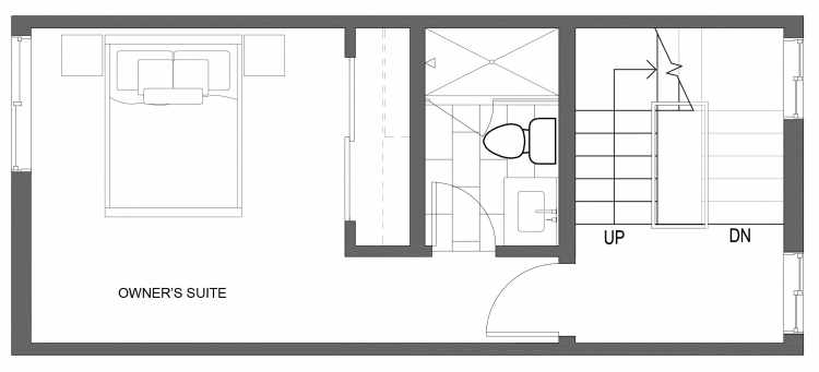 Third Floor Plan of 10415 Alderbrook Pl NW, One of the Zinnia Townhomes in the Greenwood Neighborhood of Seattle