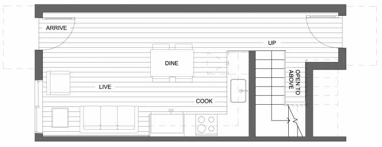 First Floor Plan of 10417 Alderbrook Pl NW, One of the Zinnia Townhomes in the Greenwood Neighborhood of Seattle