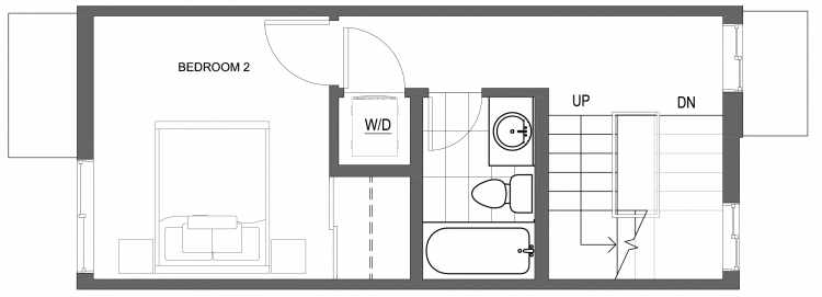 Second Floor Plan of 10417 Alderbrook Pl NW, One of the Zinnia Townhomes in the Greenwood Neighborhood of Seattle