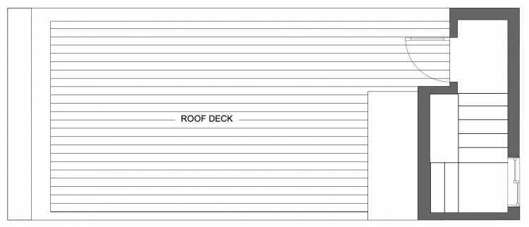 Roof Deck Floor Plan of 10417 Alderbrook Pl NW, One of the Zinnia Townhomes in the Greenwood Neighborhood of Seattle