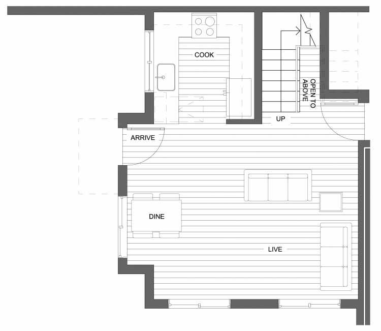 First Floor Plan of 10419 Alderbrook Pl NW, One of the Zinnia Townhomes in the Greenwood Neighborhood of Seattle