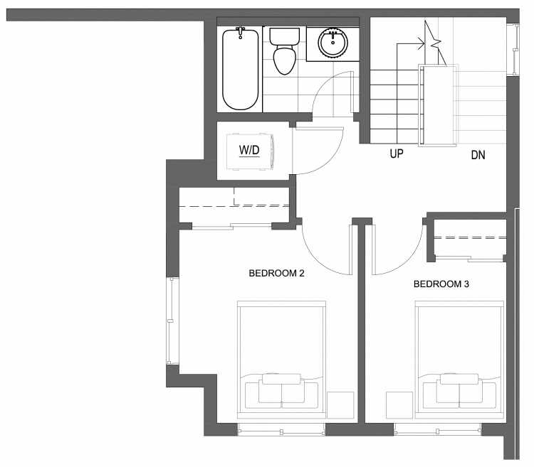 Second Floor Plan of 10419 Alderbrook Pl NW, One of the Zinnia Townhomes in the Greenwood Neighborhood of Seattle