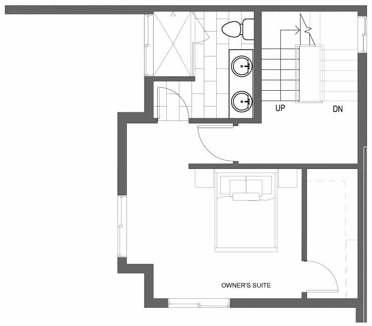Third Floor Plan of 10419 Alderbrook Pl NW, One of the Zinnia Townhomes in the Greenwood Neighborhood of Seattle