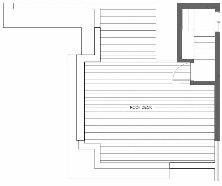Roof Deck Floor Plan of 10419 Alderbrook Pl NW, One of the Zinnia Townhomes in the Greenwood Neighborhood of Seattle