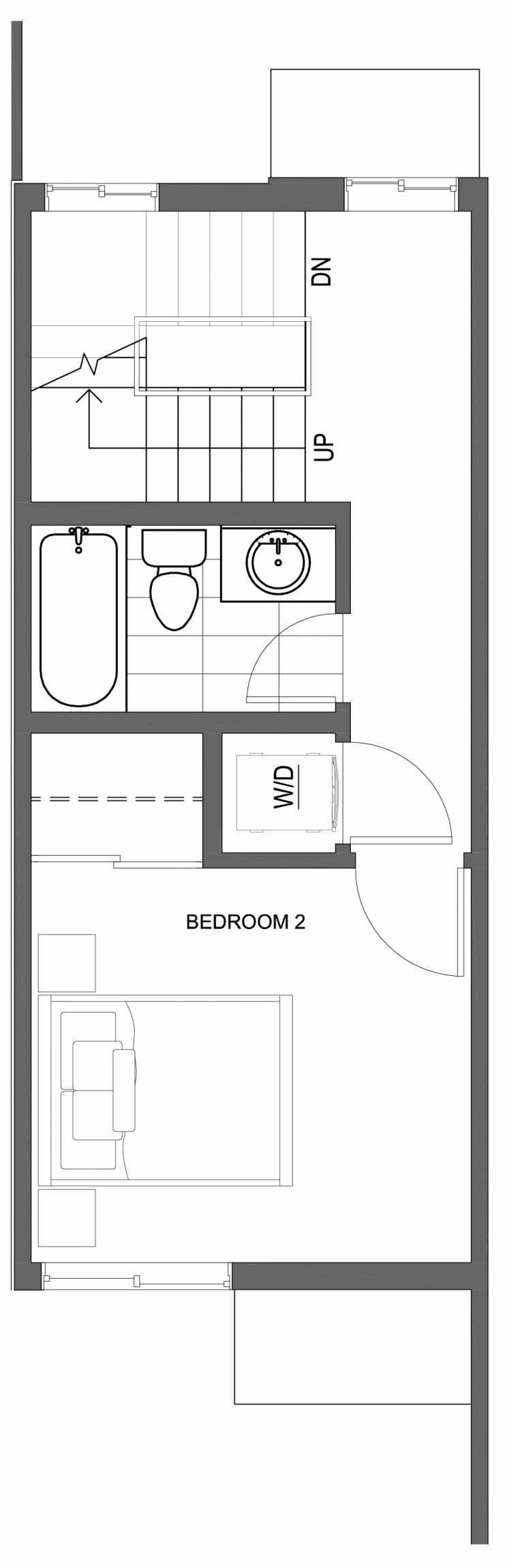 Second Floor Plan of 10421 Alderbrook Pl NW, One of the Zinnia Townhomes in the Greenwood Neighborhood of Seattle