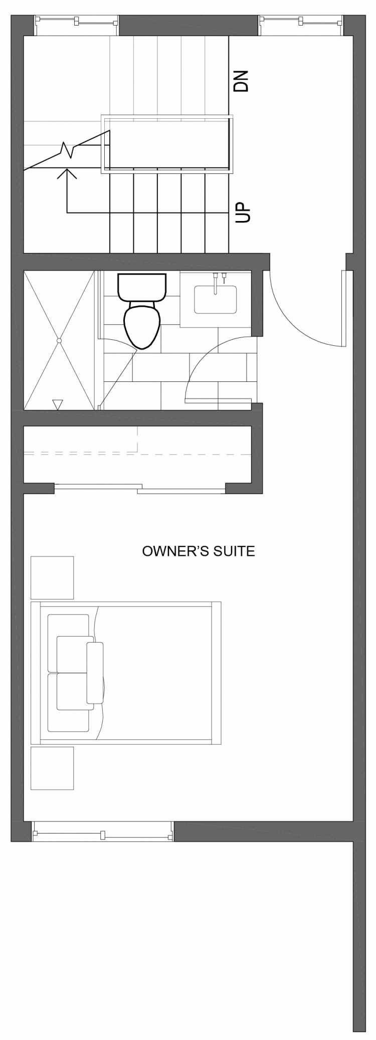 Third Floor Plan of 10421 Alderbrook Pl NW, One of the Zinnia Townhomes in the Greenwood Neighborhood of Seattle