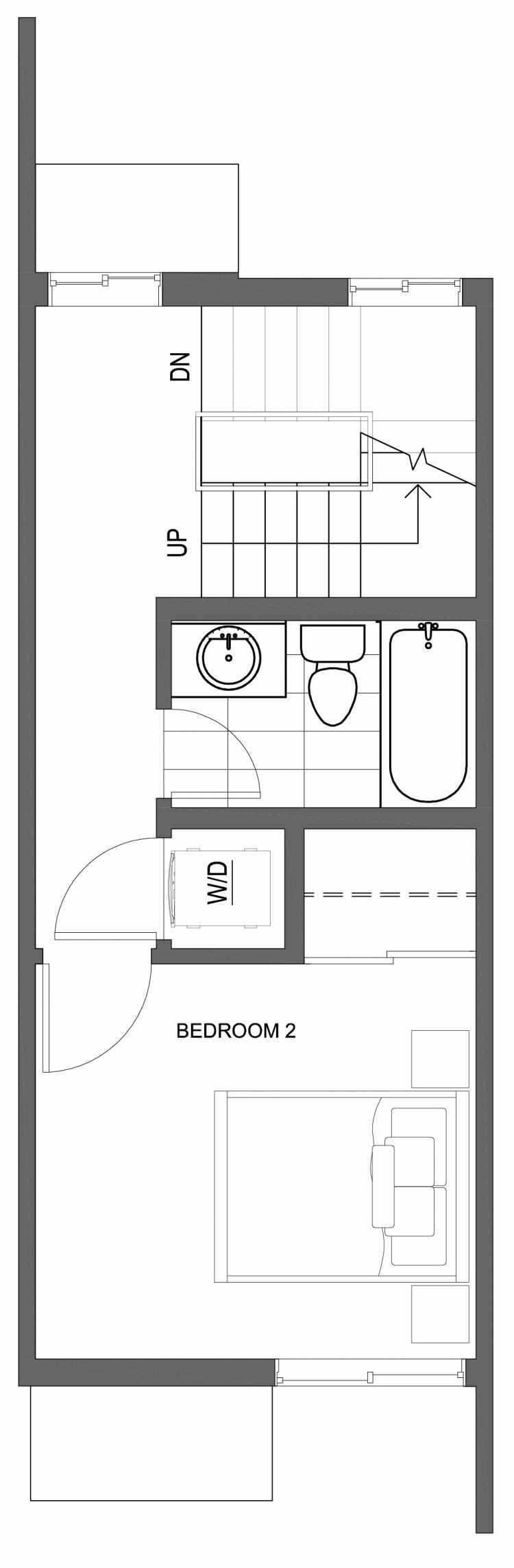 Second Floor Plan of 10423 Alderbrook Pl NW, One of the Zinnia Townhomes in the Greenwood Neighborhood of Seattle