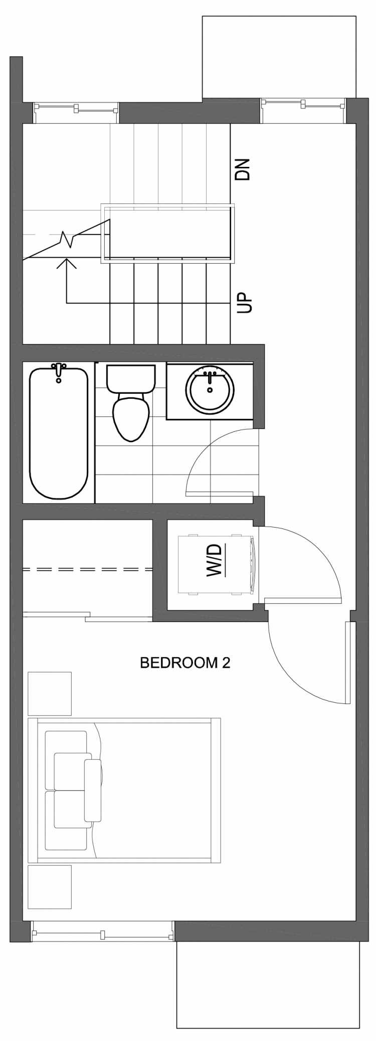 Second Floor Plan of 10427 Alderbrook Pl NW, One of the Zinnia Townhomes in the Greenwood Neighborhood of Seattle