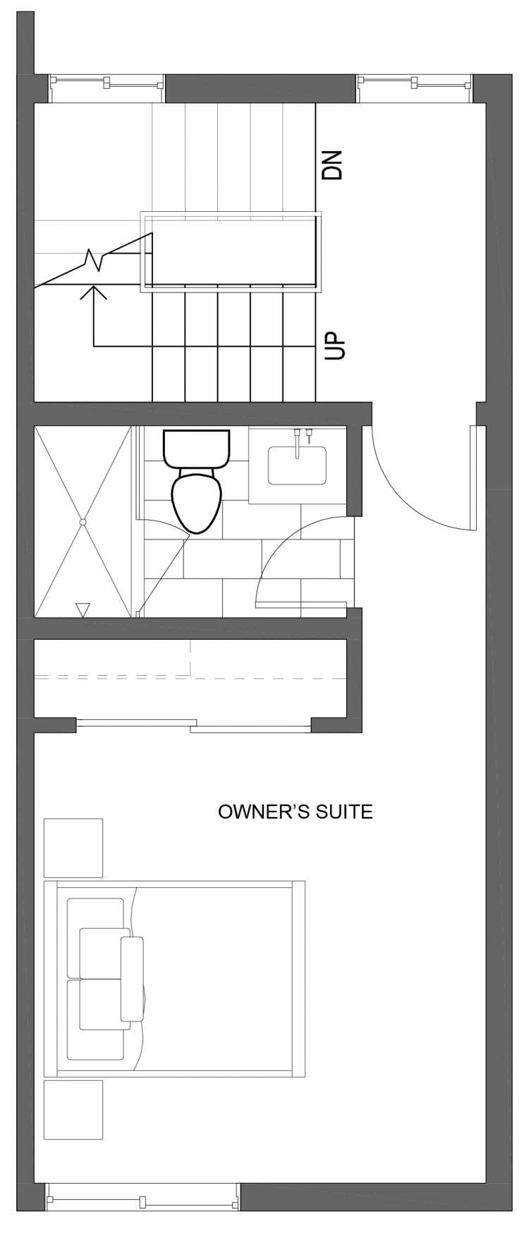 Third Floor Plan of 10427 Alderbrook Pl NW, One of the Zinnia Townhomes in the Greenwood Neighborhood of Seattle