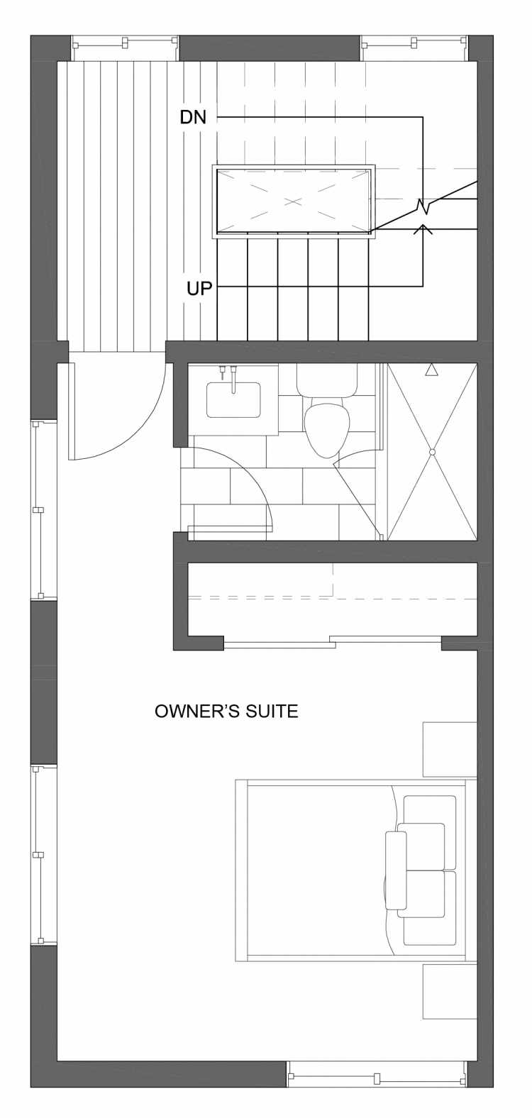 Third Floor Plan of 10429A Alderbrook Pl NW, One of the Jasmine Townhomes in the Greenwood Neighborhood of Seattle