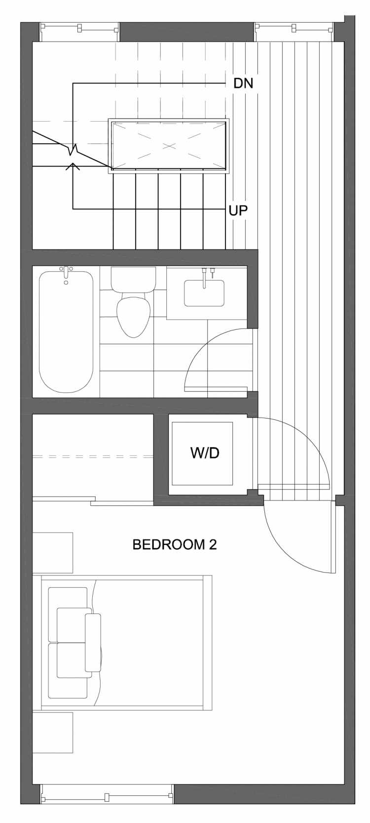 Second Floor Plan of 10429B Alderbrook Pl NW, One of the Jasmine Townhomes in the Greenwood Neighborhood of Seattle