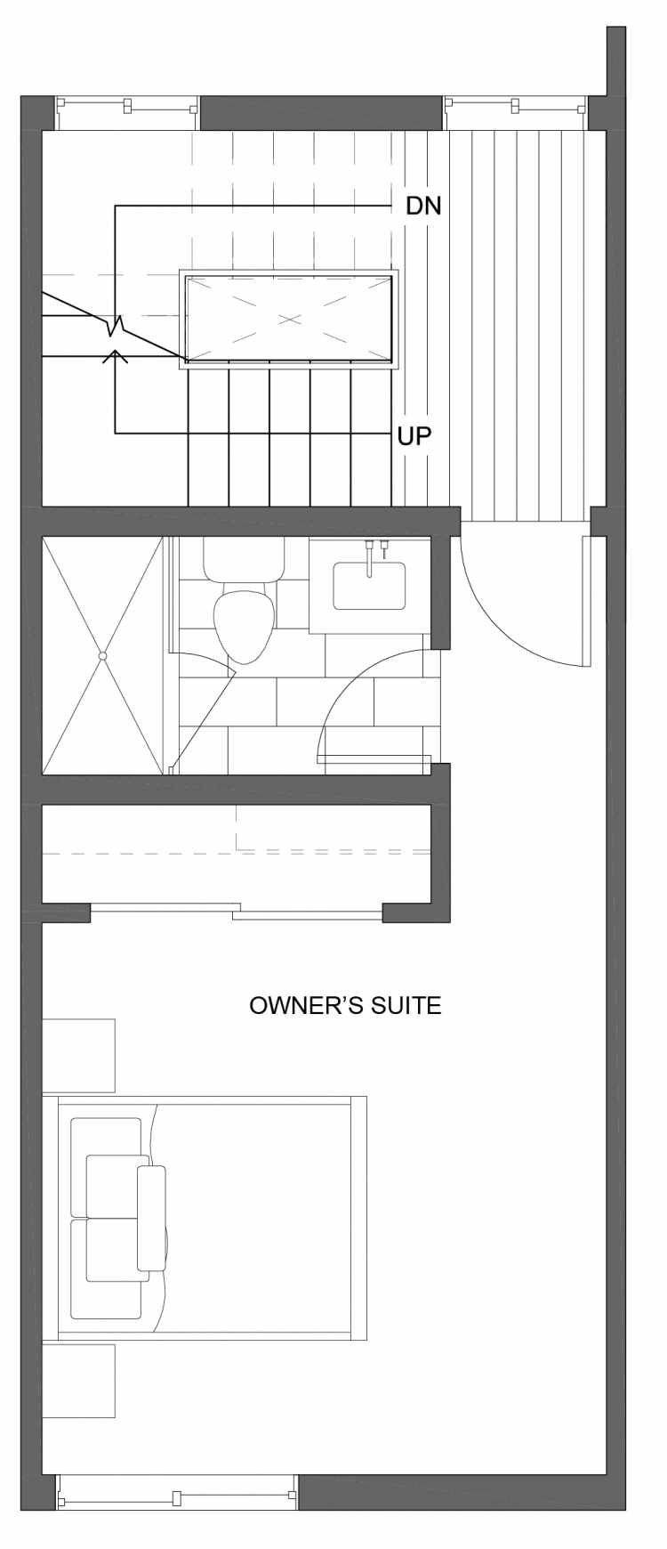 Third Floor Plan of 10429F Alderbrook Pl NW, One of the Jasmine Townhomes in the Greenwood Neighborhood of Seattle