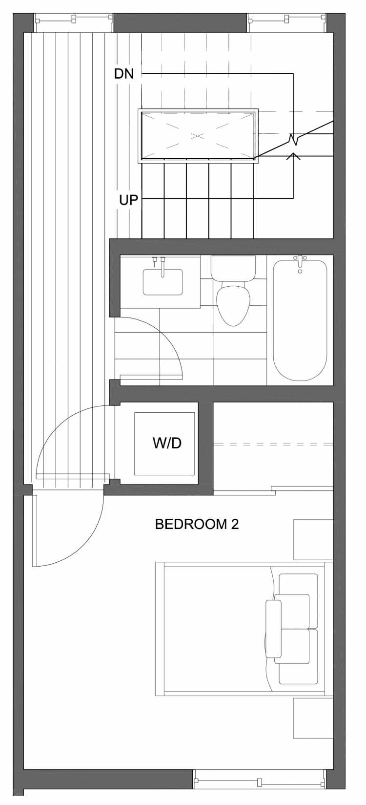 Second Floor Plan of 10429E Alderbrook Pl NW, One of the Jasmine Townhomes in the Greenwood Neighborhood of Seattle