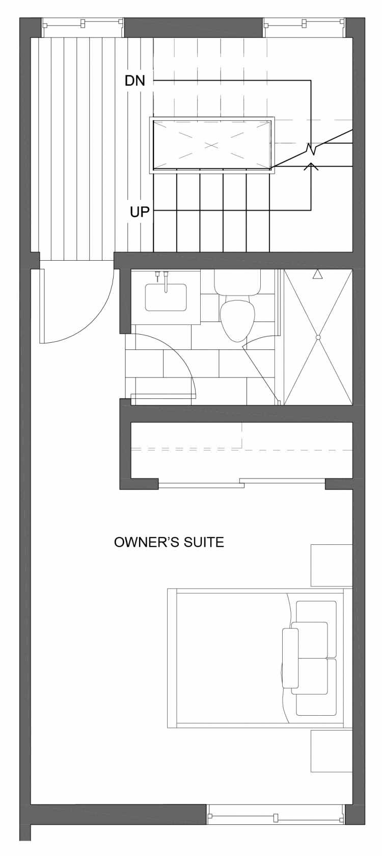 Third Floor Plan of 10429E Alderbrook Pl NW, One of the Jasmine Townhomes in the Greenwood Neighborhood of Seattle