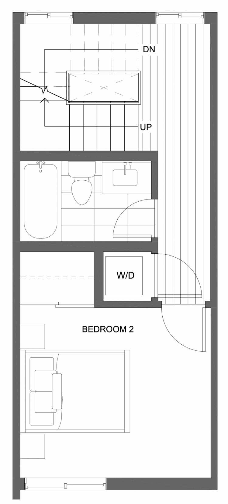 Second Floor Plan of 10429H Alderbrook Pl NW, One of the Jasmine Townhomes in the Greenwood Neighborhood of Seattle