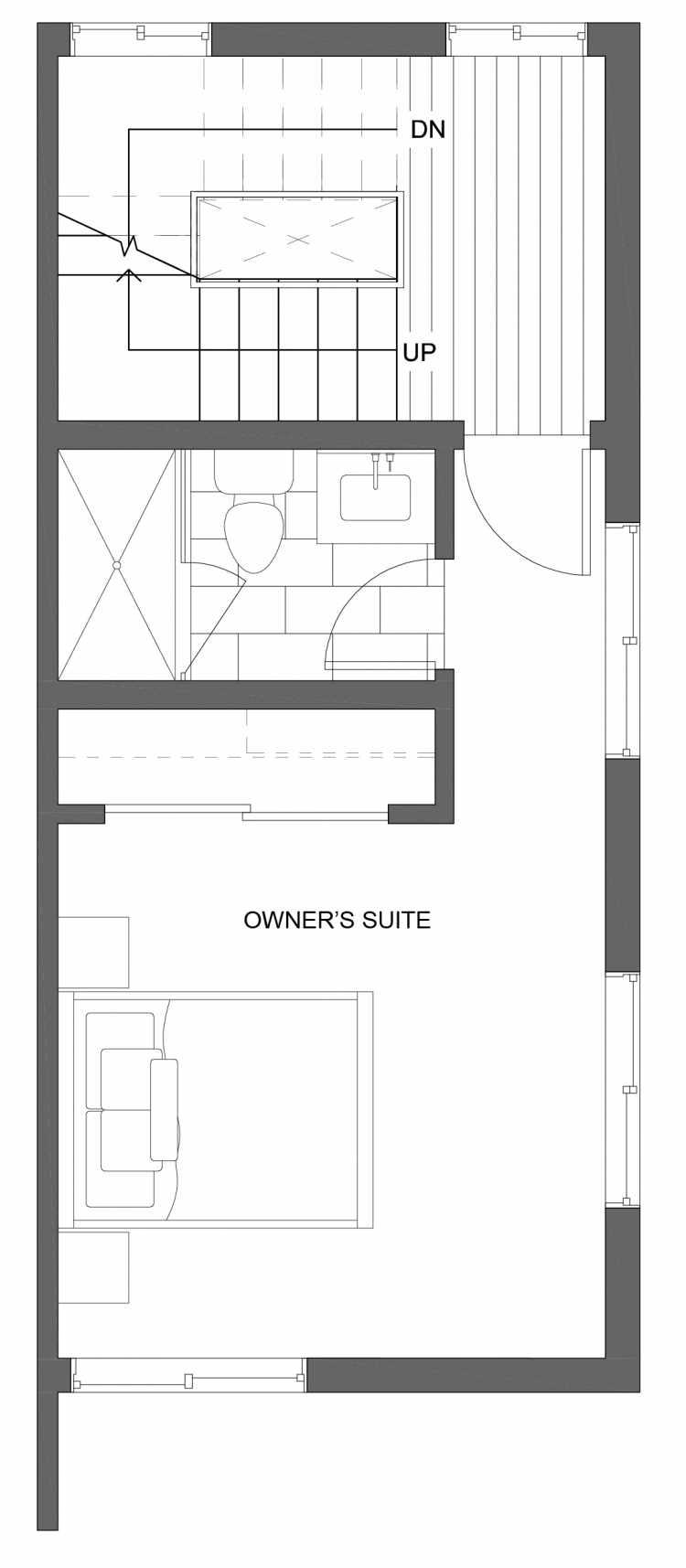 Third Floor Plan of 10429H Alderbrook Pl NW, One of the Jasmine Townhomes in the Greenwood Neighborhood of Seattle
