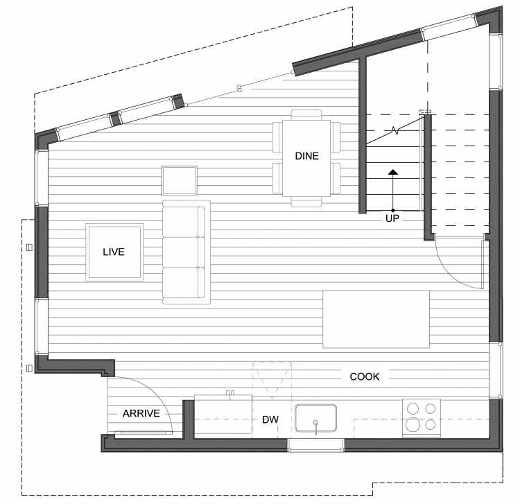First Floor Plan of 10441 Alderbrook Pl NW, One of the Hyacinth Homes in the Greenwood Neighborhood of Seattle