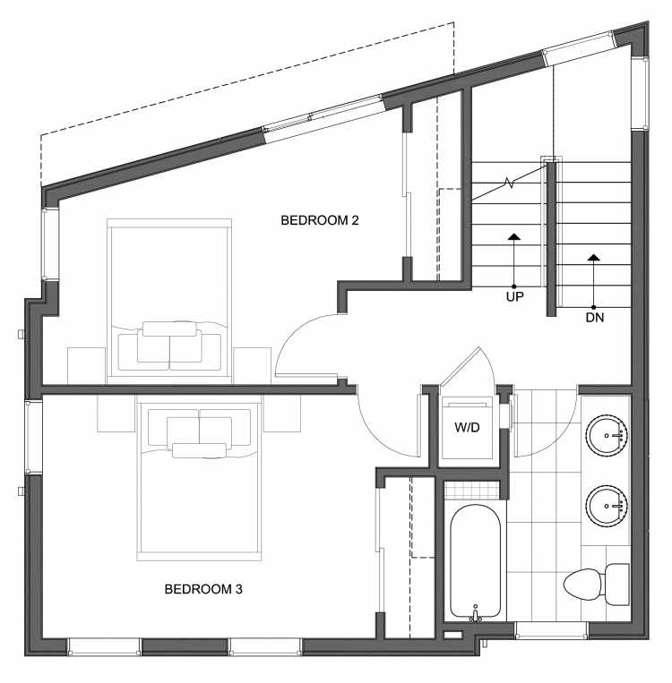 Second Floor Plan of 10441 Alderbrook Pl NW, One of the Hyacinth Homes in the Greenwood Neighborhood of Seattle