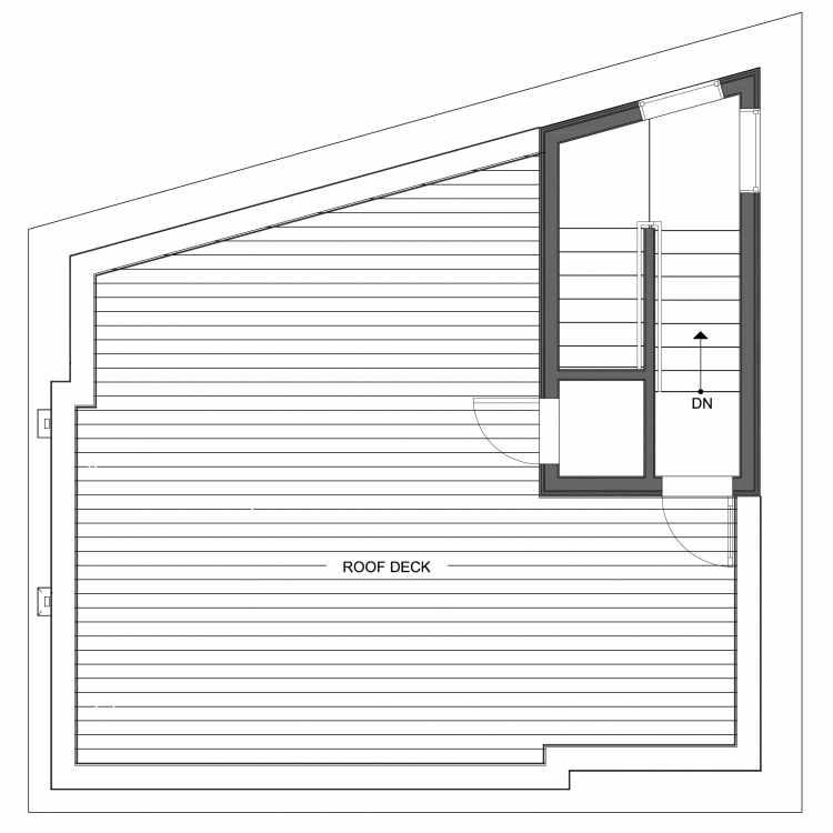 Roof Deck Floor Plan of 10441 Alderbrook Pl NW, One of the Hyacinth Homes in the Greenwood Neighborhood of Seattle