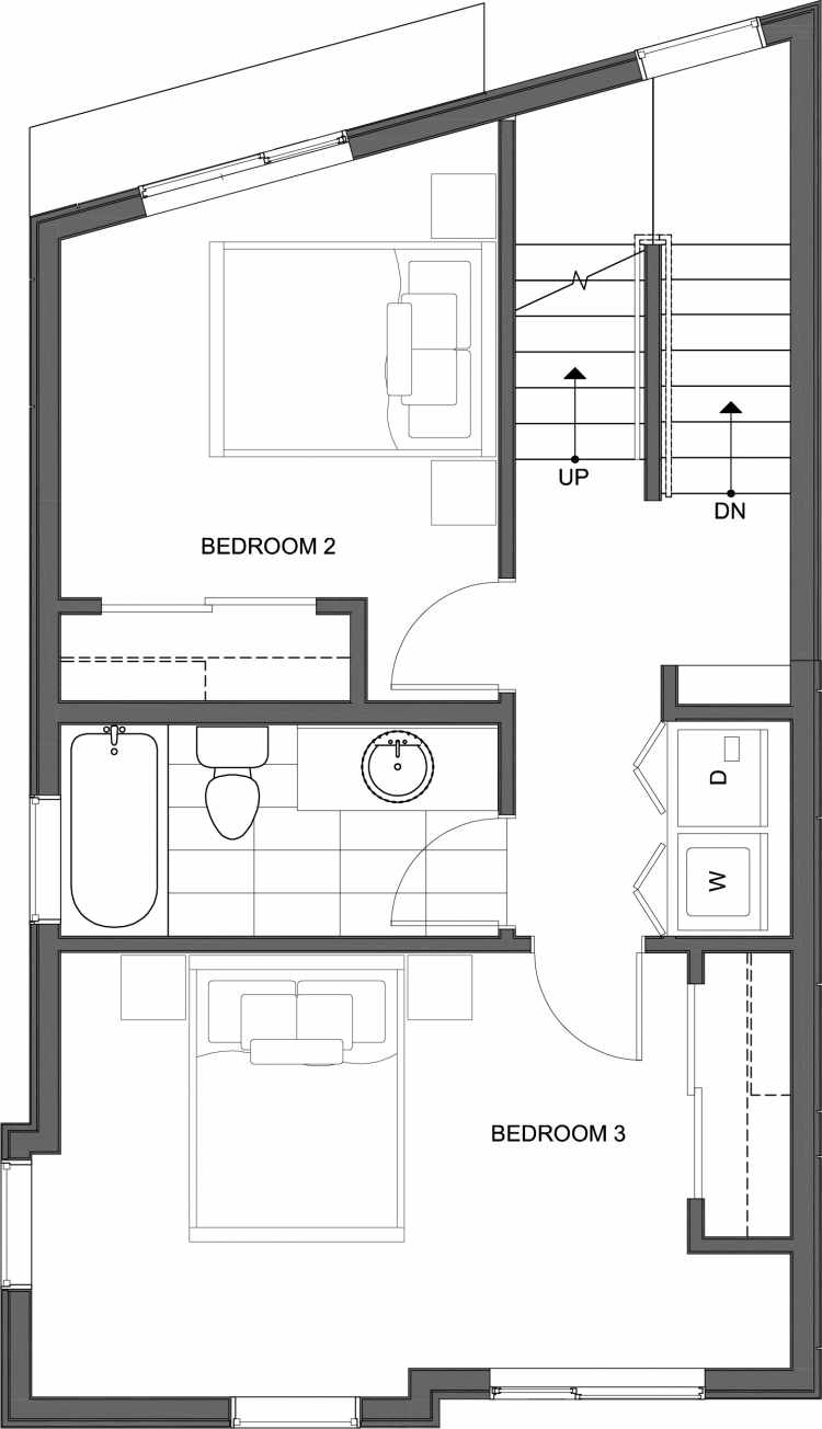Second Floor Plan of 10443 Alderbrook Pl NW, One of the Hyacinth Homes in the Greenwood Neighborhood of Seattle
