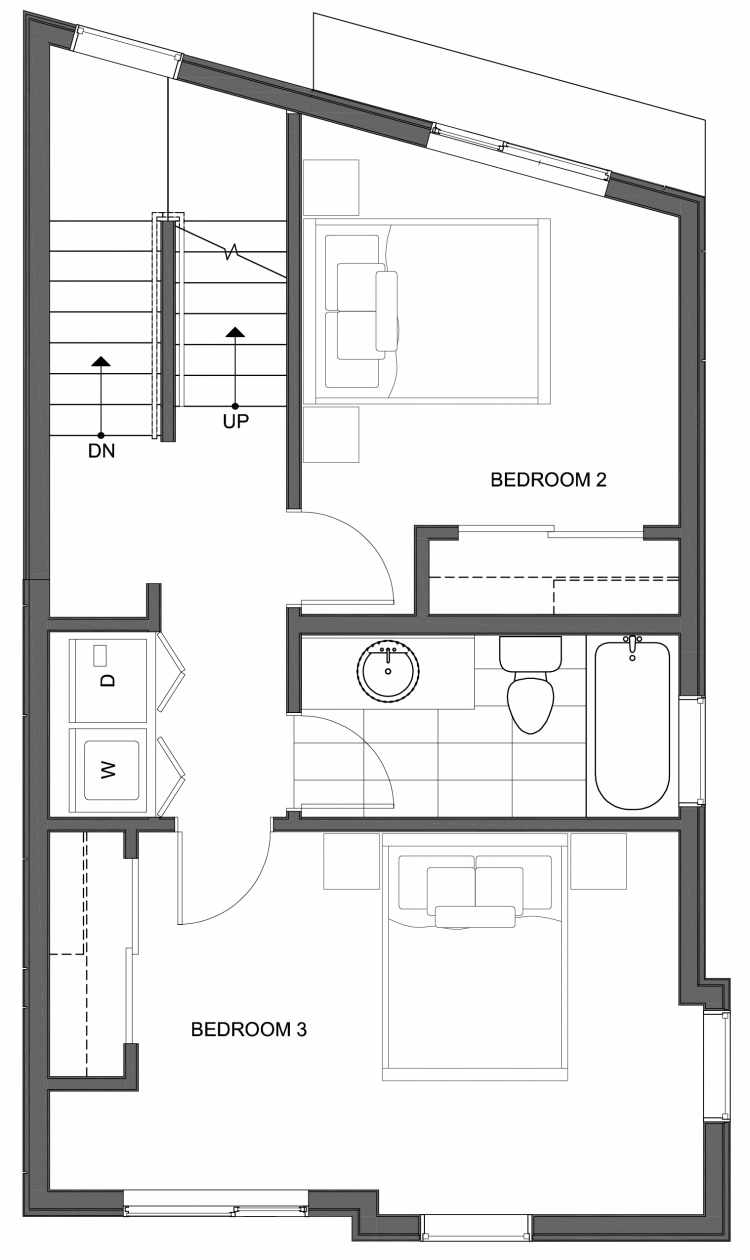 Second Floor Plan of 10445 Alderbrook Pl NW, One of the Hyacinth Homes in the Greenwood Neighborhood of Seattle