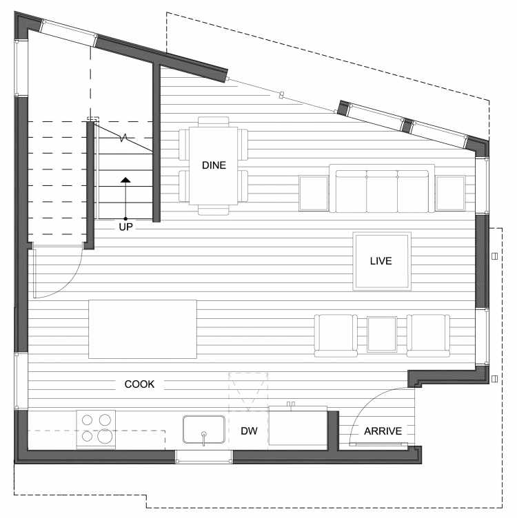 First Floor Plan of 10447 Alderbrook Pl NW, One of the Hyacinth Homes in the Greenwood Neighborhood of Seattle