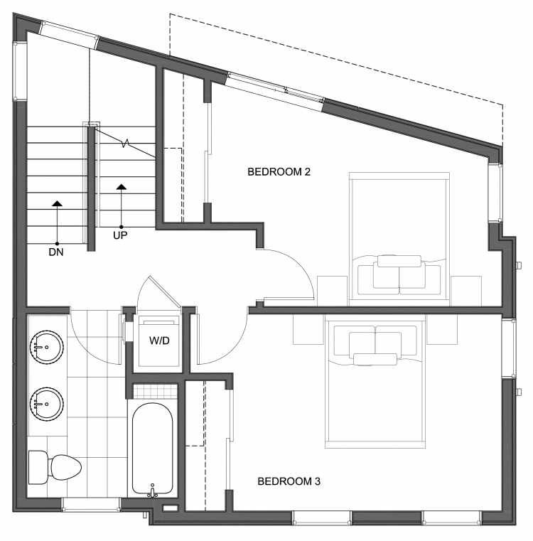 Second Floor Plan of 10447 Alderbrook Pl NW, One of the Hyacinth Homes in the Greenwood Neighborhood of Seattle