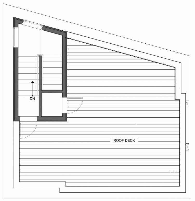 Roof Deck Floor Plan of 10447 Alderbrook Pl NW, One of the Hyacinth Homes in the Greenwood Neighborhood of Seattle