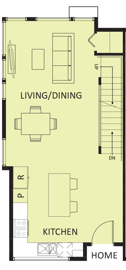 Living room, dining room, kitchen