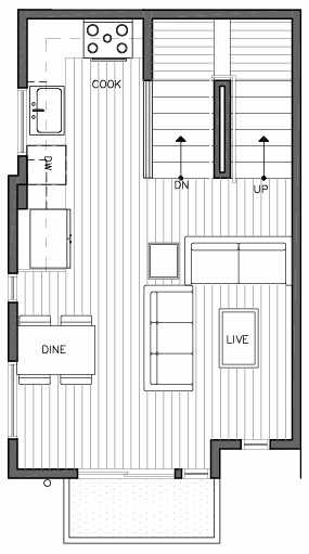 Second Floor Plan of 109A 22nd Ave E at the Thalia Townhomes