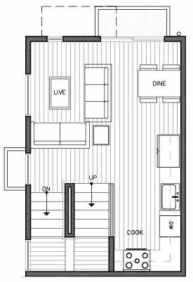 Second Floor Plan of 109C 22nd Ave E at the Thalia Townhomes