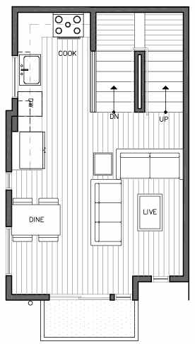 Second Floor Plan of 109F 22nd Ave E at the Thalia Townhomes