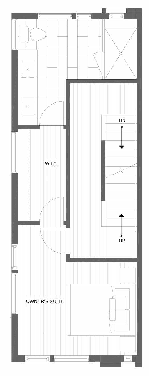 Third Floor Plan of 1101A 14th Ave in the Corazon Townhomes