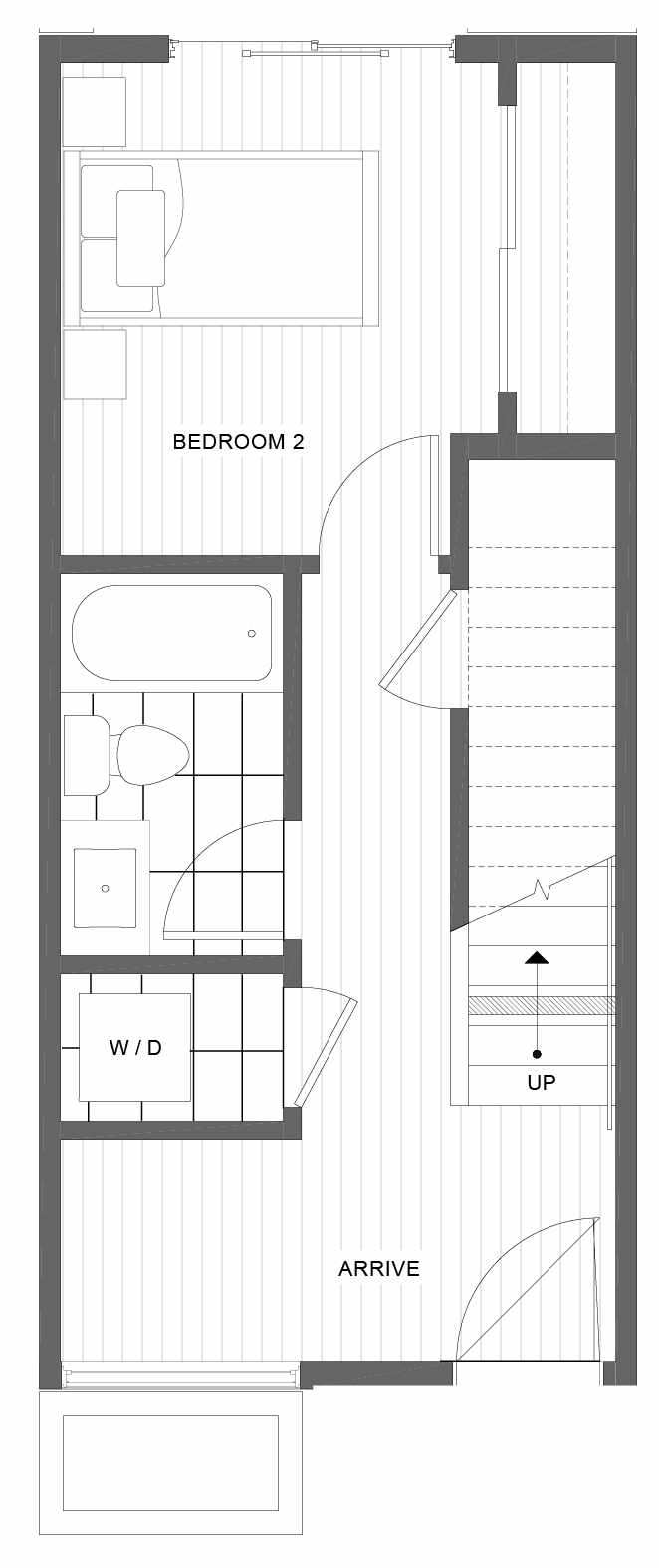 First Floor Plan of 1101C 14th Ave in the Corazon Townhomes