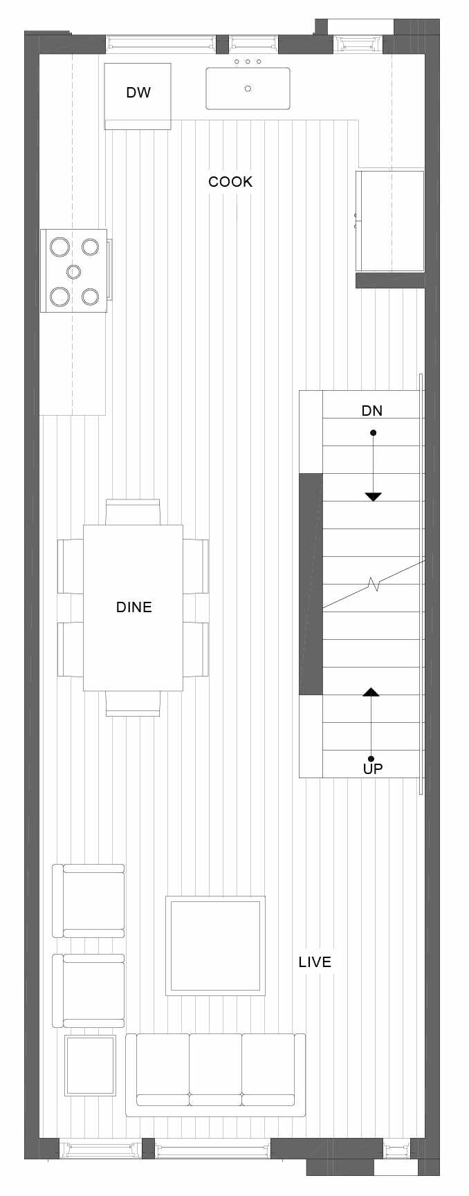 Second Floor Plan of 1101B 14th Ave in the Corazon Townhomes