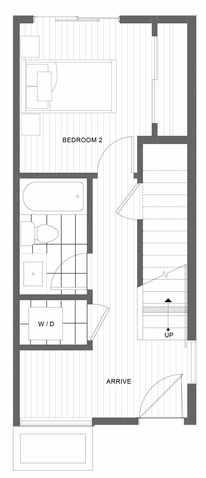 First Floor Plan of 1101D 14th Ave in the Corazon Townhomes