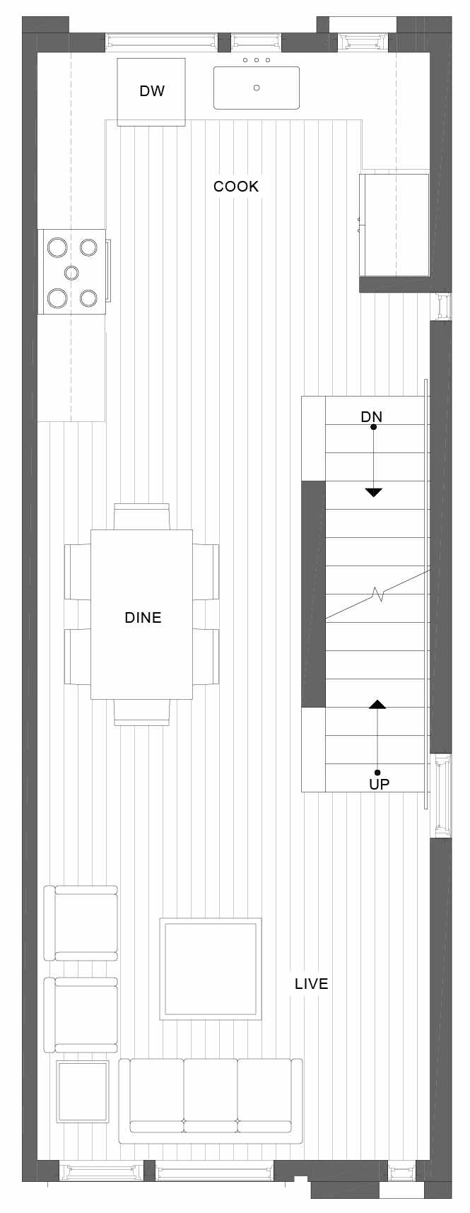 Second Floor Plan of 1101D 14th Ave in the Corazon Townhomes