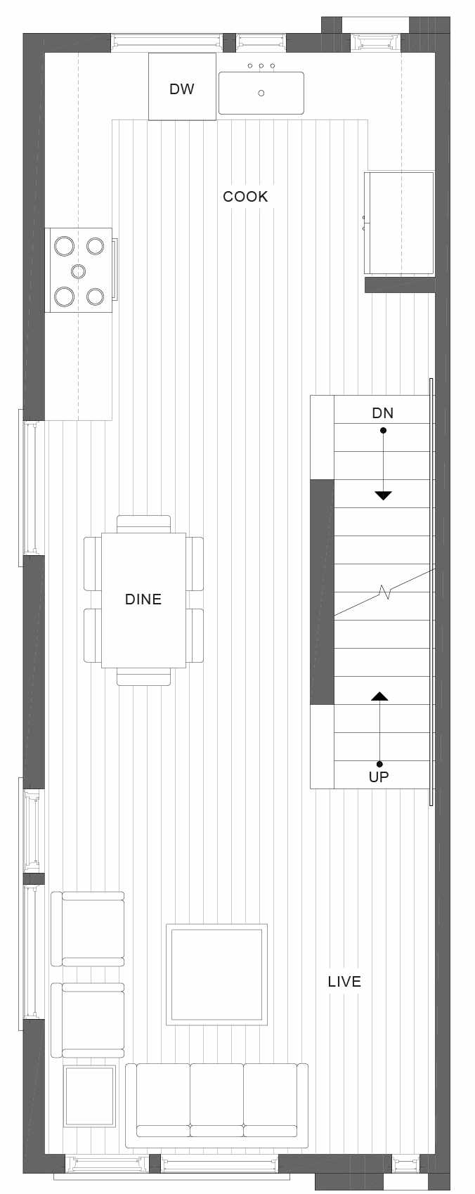Second Floor Plan of 1105A 14th Ave in the Corazon Central Townhomes