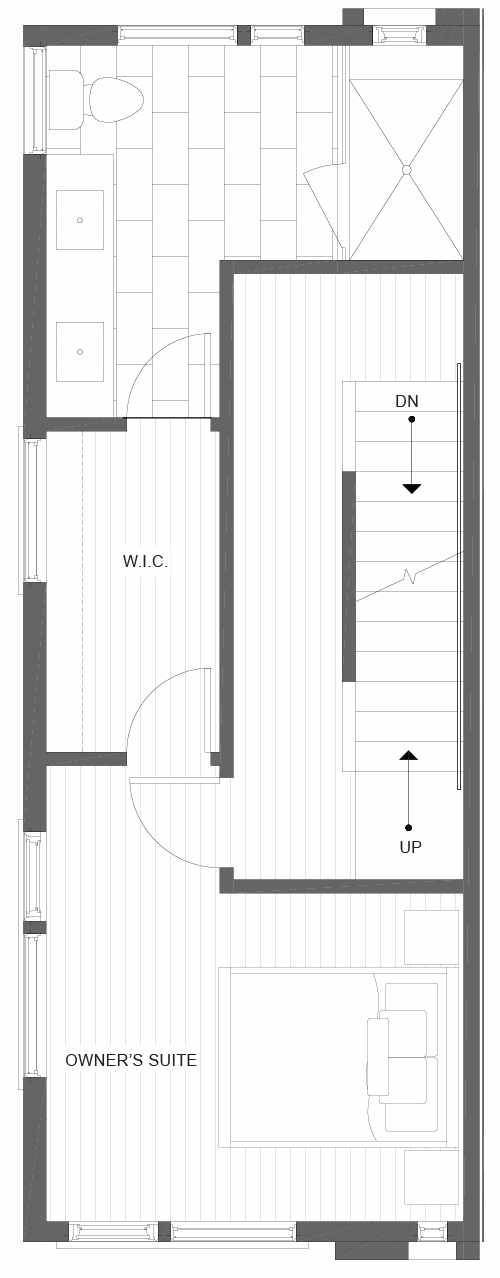 Third Floor Plan of 1105A 14th Ave in the Corazon Central Townhomes