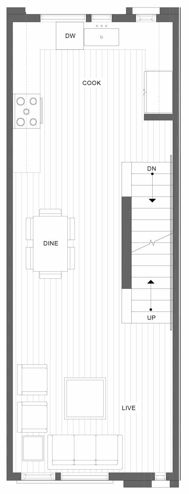 Second Floor Plan of 1105C 14th Ave in the Corazon Central Townhomes