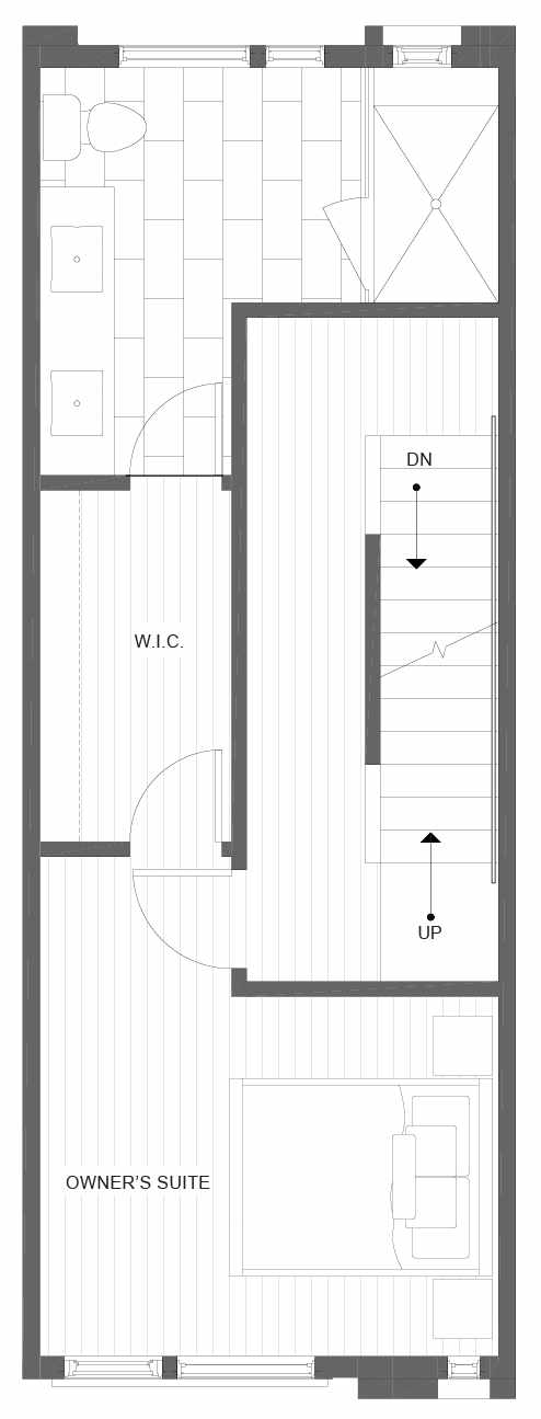 Third Floor Plan of 1105B 14th Ave in the Corazon Central Townhomes